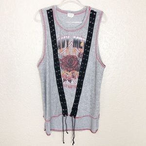 EUC Emory Park grey terry lace up graphic top